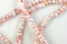 """16"""" Str. 8mm Chinese Crystal Glass Beads Faceted Rondelle White Mixed Agates"""