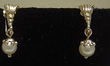 18K Yellow Gold W/ Salt Water Cultured Pearl Screw Back Earrings-WOW!! N347-Z