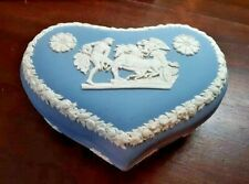 New Listing Wedgwood Blue Chariot Jasperware Heart Shape Box Excellent Large