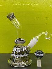 "Hookah Glass Waterpipe Bong 8"" Premium Water Pipe Bubbler + Two bowls (BLACK)"