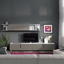 Maura TV Media Full Wall Unit in Basalt Grey on White Melamine Veneer