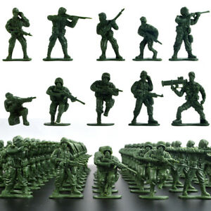 100x   5cm Soldier Army Men Figures WWII Sand Scene Model Accs Toy