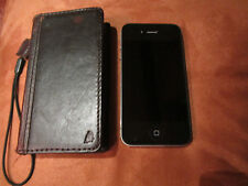APPLE IPHONE 4S AT&T CELL PHONE, LEATHER , PRISTINE MINT!