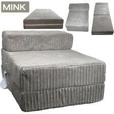 Mink Jumbo Cord Single Chair Sofa Z Bed Seat Foam Fold Out Futon Guest