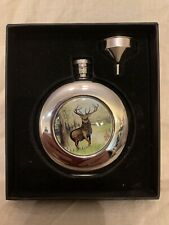 Round Stainless Steel Flask w/ Stag, New