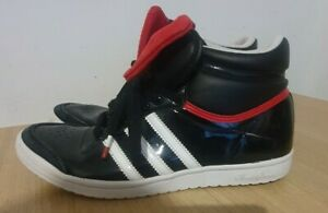 Adidas Black Patent Sleek Series Hi Tops with Red Bows Trainers UK 6