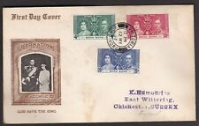 HONG KONG 1937 KGVI CORONATION SET ON ILLUSTRATED FDC FIRST DAY COVER