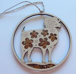 Ornament/Magnet RAM- Flowers -Genuine Amber beads -birch wood