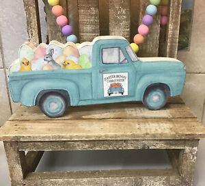 Easter Blue Truck Wooden Decor