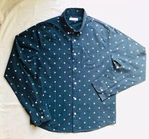 HOLLISTER Navy Blue Casual Shirt XL Aztec Regular Fit 100% Cotton Long Sleeves E