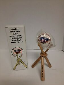 Jackie Robinson 50th Anniversary Collectible Ball w/stand  2E