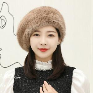 100% Real Genuine Knitted Mink Fur Beret Hat Cap Hood Ladies Vintage Warm Winter