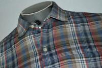 18336-a Peter Millar Button Up Dress Shirt Size Medium Tan Blue Red Plaids Mens