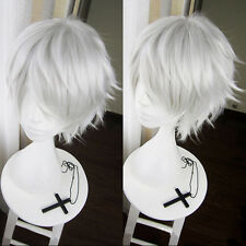 The Future Diary Akise Aru / Sakata Gintoki Short Silver Gray Cosplay Hair Wig