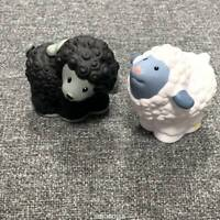 2x Fisher Price Little People farm barn Animal Black white Sheep toys xmas gifts