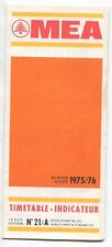 MIDDLE EAST AIRLINES MEA TIMETABLE WINTER 1975/76 NO 21/A