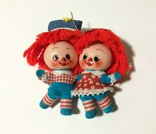 Raggedy Ann & Andy Conjoined Vintage Japan Plastic Felted Tree Ornament Defect