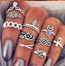 Etnico boho festival Spiaggia Set, 10 SILVERTONE ASSORTITI knuckle rings