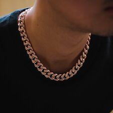 14k Rose Gold Diamond Miami Cuban Link Chain Choker Necklace Lifetime Warranty