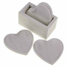 Shudehill Joe Davies Set of 4 Wooden Hearts Drink Coasters in Provence Grey
