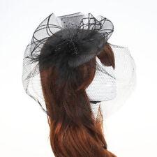 Wedding Fascinator Veil Feather Hard Yarn Headband Hats Brides Hair Accessories