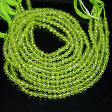 Natural Green Peridot Olivine Faceted Round Loose Gemstone Beads Strand 4mm 13""