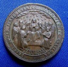 ancienne medaille en bronze religieuse pieuse medal holly semper vivens XIXe