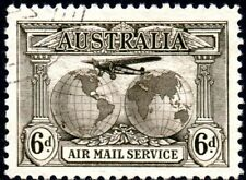 1931 Australia Sg 139 6d sepia Air Mail Fine Used