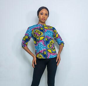 Pepperfruit Women African Print 3/4 Sleeve Zip Front Shirt Top Blouse UK10-UK18