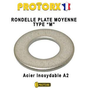 "RONDELLE PLATE MOYENNE TYPE ""M"" Acier Inox A2 : (M10) >>> Lot 1 PIECE <<<"