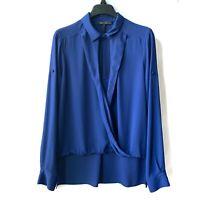 BCBG MaxAzria Deep Royal Blue Blouse Top Sz Medium Long-Sleeves *With Minor Flaw