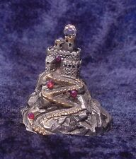 Pewter Castle on Mountain with Colorful Crystals