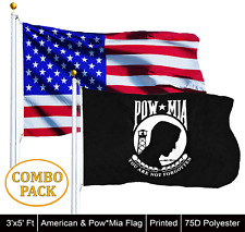 Wholesale Lot of 3' X 5' Usa American & 3' X 5' Pow-Mia Black Flag