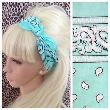 Nuovo di zecca Green Paisley Cotton Bandana Testa Collo Sciarpa per capelli Retrò Rockabilly Pin Up