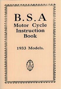 BSA Motorcycle Service Manual 1933 All Models 2.49 3.48 4.99 5.95 75 pages
