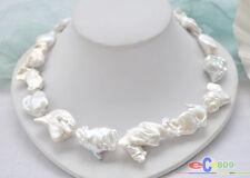 "P5053 Huge 100% natural 18"" 35mm white baroque KESHI REBORN PEARL NECKLACE bowkn"