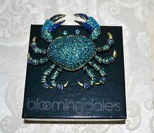 "NIB $190 HEIDI DAUS ""Queen Crab"" Massive Brooch Pin SWAROVSKI Crystals Blue Crab"