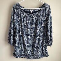 J Jill Blue Ruched Elastic Off Shoulder Floral 3/4 Sleeve Blouse Large Petite