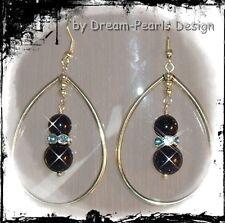♥ Dream-Pearls Ohrringe Tropfen mit Blaufluss Strass blau glitzer silber ♥ OH078