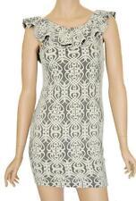 ALLY SZ 8 WOMENS Black & White Lace Ruffle Sleeveless Bodycon Short Mini Dress