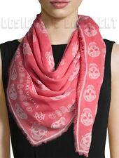 "ALEXANDER MCQUEEN fuxia Pink KINGS & QUEENS SKULLS silk 41x47"" scarf NWT Authent"