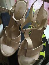 JONES SANDALS Size 7 Patent Leather Dark Vanilla Wedge Cork Style Heels Preloved