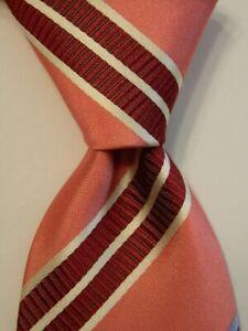 HUGO BOSS Selection Men's 100% Silk Necktie ITALY Luxury STRIPED Pink/Wine EUC