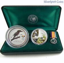 2003 AUSTRALIANS AT WAR VIETNAM 2oz Kookaburra Coin & 1oz Medallion Set