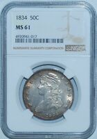 1834 NGC MS61 Small Date Small Letters O-121 R.3 Recut 5 Capped Bust Half Dollar