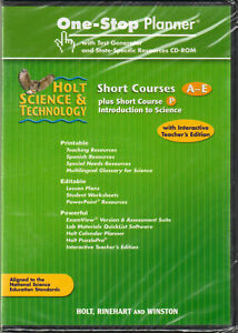 HOLT SCIENCE & TECHNOLOGY One-Stop PLANNER Short COURSES A-E Test TEACHER CD-ROM