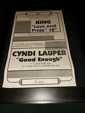 Cyndi Lauper/King Rare Original Radio Promo Poster Ad Framed