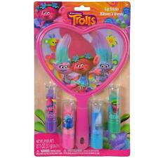 Dreamworks Trolls 4 Pack Lip Balm & Mirror Gift Set Officially Licensed NEW