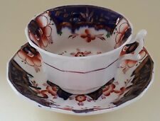 Gaudy Welsh blue & red Imari design vintage Victorian antique cup & saucer duo