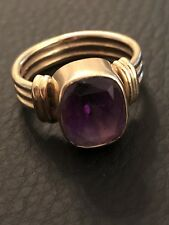 Vintage 14k Yellow Gold Designer Ring With Large Amethyst Color Stone RIBBED